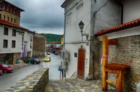 VELIKO TARNOVO, BULGARIA - APR 14, 2019 - Old town street with hotel in Veliko Tarnovo, Bulgaria