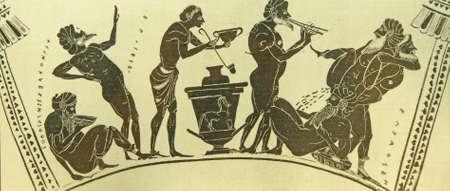 ANTALYA, TURKEY - JUN 2, 2014 - Musical scenes painted on Greek vases in the museum of  Antalya,  Turkey Redakční
