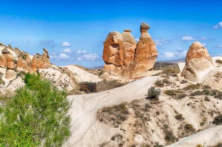 Fairy chimney balanced rock formations near Devrent, Cappadocia, Turkey Stock fotó