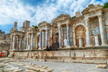 Monumental fountain and statues at ancient site of Sagalassos, Turkey