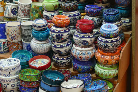 Bright colored enamel bowls for sale in the Grand Bazaar (Kapali carsi ) in Istanbul, Turkey
