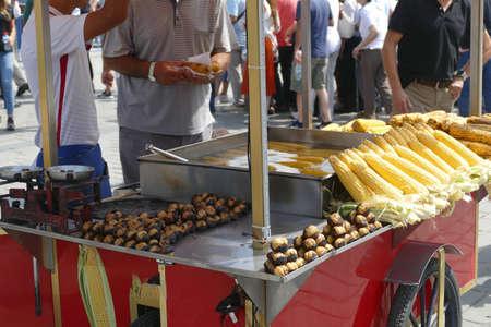 Street vendor sells roasted chesnuts and corn near Hagia Sophia in Istanbul,  Turkey