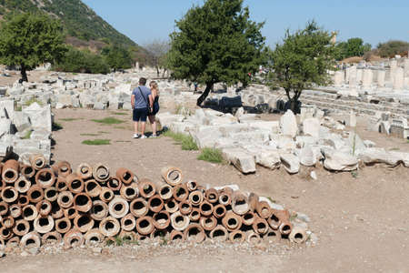 Ancient terra cotta pipe sections used for drains in the Roman city of  Ephesus, Turkey 写真素材