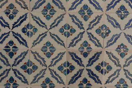 Iznik lapis  tiles with flower pattern on a wall  in the Harem  in Topkapi ,  in Istanbul, Turkey Stock Photo