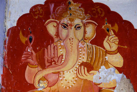 Portrait of Ganesha on wall in Rajasthan, India