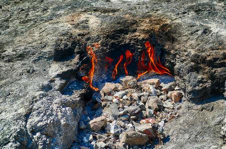 Natural eternal flames evoke the legend of Bellerophon, Pegasus and the Chimaera, Chimaera, Turkey Фото со стока