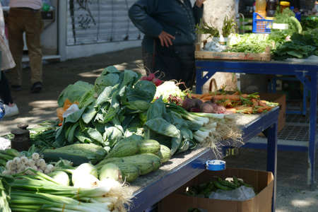 Onions and other vegetables for sale  at the green market of Split, Croatia