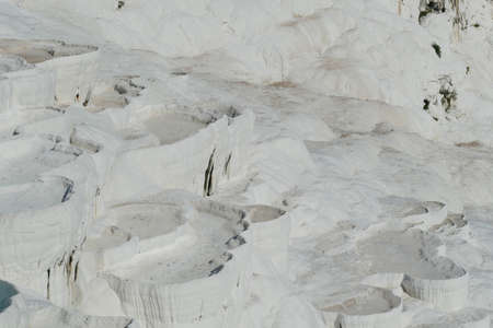 White travertine   terraces at  Pamukkale,  Turkey