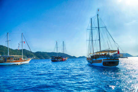 Gulet yachts anchored  in the harbor  Kale, Turkey