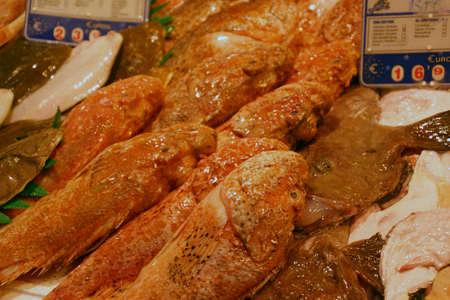 Large fresh red fish in the Mercado de Atarazanas (Shipyard market ) Malaga, Spain Stock Photo