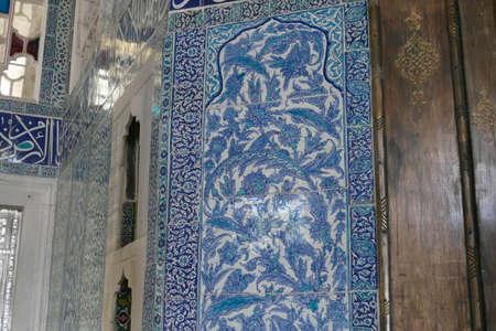 ISTANBUL, TURKEY  - SEP 6, 2019 - Iznik mosaic tiles in the harem  in Topkapi,  in Istanbul, Turkey Editorial