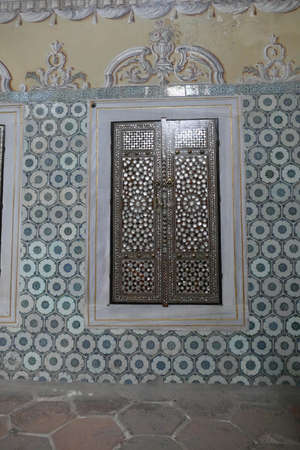ISTANBUL, TURKEY  - SEP 6, 2019 -  Door with mother of pearl inlays  in the Harem  in Topkapi ,  in Istanbul, Turkey Editorial