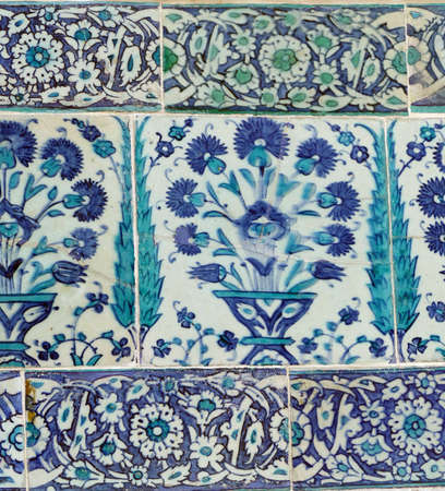 Iznik lapis  tiles with flower pattern on a wall  in the Harem  in Topkapi,  in Istanbul, Turkey