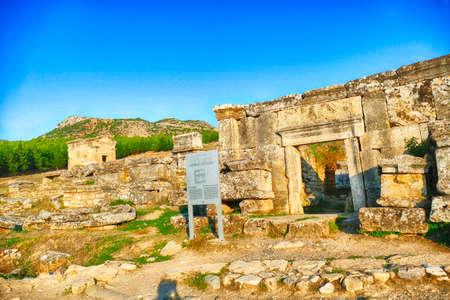 HIERAPOLIS, TURKEY - SEP 17, 2019 -Mausoleum tombs in the necropolis outside  Hierapolis, Turkey Editorial