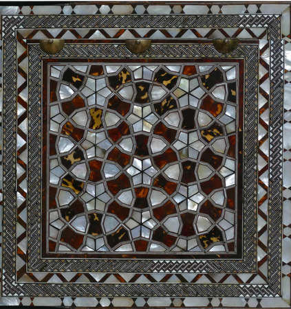ISTANBUL, TURKEY  - SEP 6, 2019 -  Door with mother of pearl inlays  in the Harem  in Topkapi Palace,  in Istanbul, Turkey