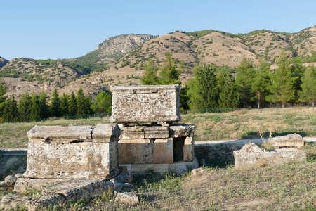Mausoleum tomb in the necropolis  outside  Hierapolis, Turkey