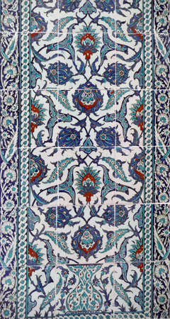 Iznik lapis  tiles with flower pattern on a wall  in the Harem  in Topkapi ,  in Istanbul, Turkey Editorial