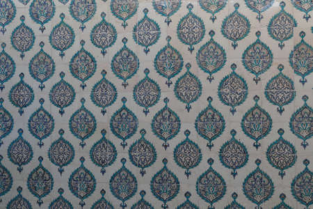 Iznik lapis  tiles with flower pattern on a wall  in the Harem  in Topkapi Palace,  in Istanbul, Turkey