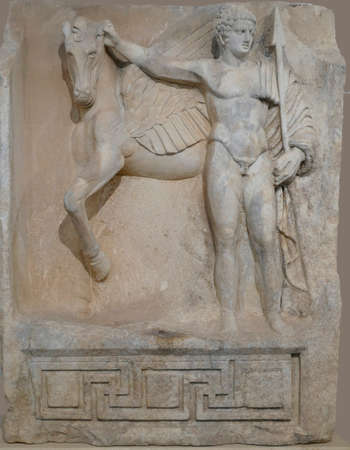 APHRODISIAS, TURKEY, - SEP18, 2019 - Statue of Bellerophon and Pegasus in the museum of  Aphrodisias,  Turkey