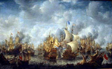 AMSTERDAM, NETHERLANDS - DEC 14, 2018 - Battle of Terheide painting, 1653 of the Anglo Dutch Wars, Rijks Museum, Amsterdam, Netherlands Sajtókép