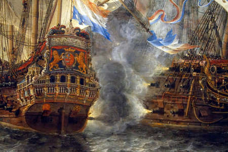 AMSTERDAM, NETHERLANDS - DEC 14, 2018 - Battle of Terheide painting, 1653 of the Anglo Dutch Wars, Rijks Museum, Amsterdam, Netherlands