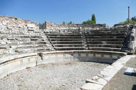 Sièges de l'odéon Boulouterion à Aphrodisias, Turquie Banque d'images