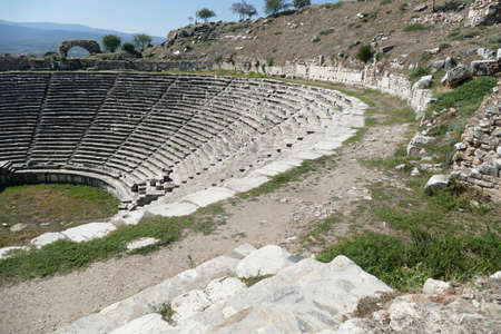 Ancient theater with rows of stone seats,  Aphrodisias,  Turkey