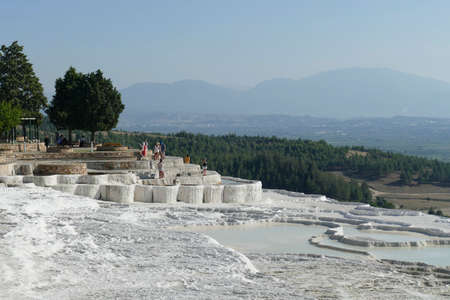 Calcium deposits  on travertine turquoise  terraced pools at  Pamukkale,  Turkey Stock fotó