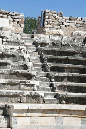 Seats of odeon Boulouterion in Aphrodisias, Turkey