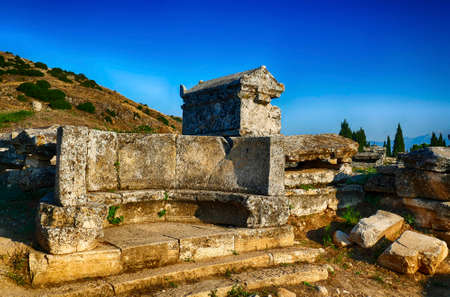 Mausoleum tomb in the necropolis outside Hierapolis, Turkey