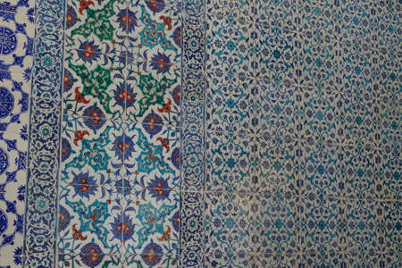 ISTANBUL, TURKEY  - SEP 6, 2019 - Iznik mosaic tiles in the harem  in Topkapi Palace,  in Istanbul, Turkey