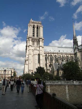 PARIS - SEP 14, 2011 - Notre Dame Cathedral with blue autumn sky, Paris, France Redakční