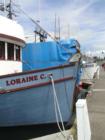 NEWPORT,  OREGON - MAY 29, 2010 - Fishing boats rest in harbor Oregon Coast