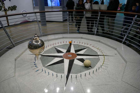 SAN FRANCISCO - NOV 28 2019 - Foucault's pendulum demonstrates the earth's rotation,California Academy of Science