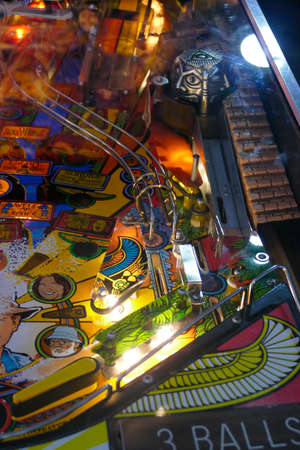 SAN FRANCISCO - NOV 27, 2019 - Vintage pinball machine and bright lights, Vintage Mechanical Museum,  California