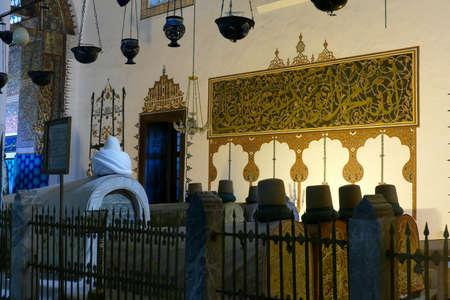 KONYA, TURKEY - SEP 12, 2019 - Cenotaphs and tombs of Mevlana and family, of the Mevlana Shrine,  Konya, Turkey