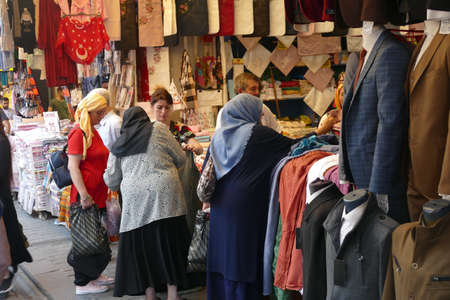 ISTANBUL, TURKEY  - SEP 6, 2019 - Shoppers on the street outside the Grand Bazaar (Kapali carsi ) in Istanbul, Turkey