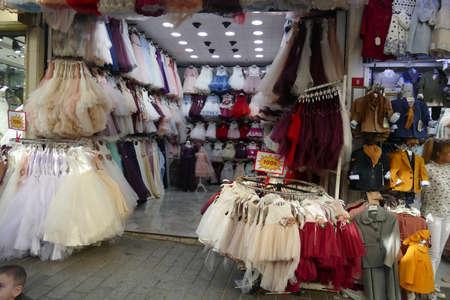 ISTANBUL, TURKEY  - SEP 6, 2019 - Bridal wedding shops near the Grand Bazaar (Kapali carsi ) in Istanbul, Turkey Redakční