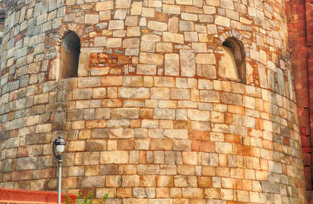 Detail of large sloping bastions on side of West Gate of Purana Qila Old fort, Delhi, India