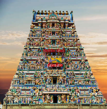 Gopuram sculptures as entrance to Kapaleshwara Shiva Temple, Chennai, India