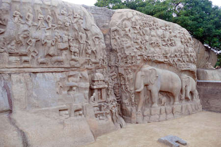 Bas relief of elephant rock cut sculpture of Arjuna's penance, Pallava dynasty 7th century, Mahabalipuram Mamallaapuram, India Foto de archivo