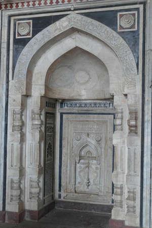 Central Mihrab of Qila E-Kuhna Masjid Mosque, Purana Qila Old fort, Delhi, India Stock Photo