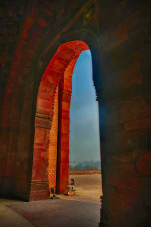 Arched open gallery and dome, superb example of mosque architecture, Purana Qila Old fort, Delhi, India Editorial