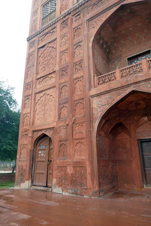 Gate and chhatri cupola  of sandstone of the Red Fort, Delhi, India