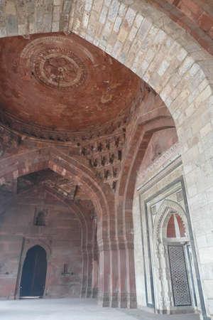 Central Mihrab of Qila E-Kuhna Masjid Mosque, Purana Qila Old fort, Delhi, India Editorial