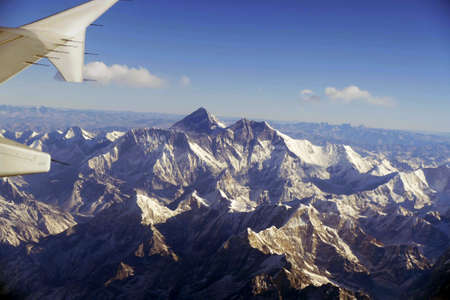 Aerial view of Everest, Manaslu, Lhotse in the Himalayan mountains of Nepal