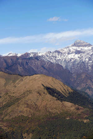 View of snowy Himalaya mountains from pass near Punakha,  Bhutan Stok Fotoğraf
