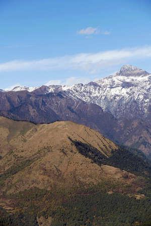 View of snowy Himalaya mountains from pass near Punakha,  Bhutan Stok Fotoğraf - 138008706