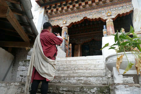 TRONGSA, BHUTAN - DEC 15, 2019 - Interior of the Trongsa Dzong  fortress with fine woodwork, Trongsa,  Bhutan Sajtókép