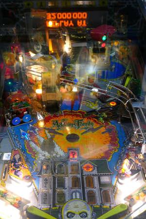 SAN FRANCISCO - NOV 27, 2019 - Vintage pinball machine and bright lights, Vintage Mechanical Museum,  California